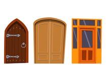 Μέτωπο πορτών χρώματος στο σπίτι και διανυσματικό κομψό διακοσμήσεων απεικόνισης ύφους σχεδίου διαμερισμάτων οικοδόμησης σύγχρονο Στοκ Φωτογραφίες