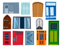 Μέτωπο πορτών χρώματος στο σπίτι και διανυσματικό κομψό διακοσμήσεων απεικόνισης ύφους σχεδίου διαμερισμάτων οικοδόμησης σύγχρονο Στοκ Φωτογραφία