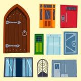 Μέτωπο πορτών χρώματος στο σπίτι και διανυσματικό κομψό διακοσμήσεων απεικόνισης ύφους σχεδίου διαμερισμάτων οικοδόμησης σύγχρονο Στοκ φωτογραφία με δικαίωμα ελεύθερης χρήσης