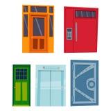 Μέτωπο πορτών χρώματος στο σπίτι και διανυσματικό κομψό διακοσμήσεων απεικόνισης ύφους σχεδίου διαμερισμάτων οικοδόμησης σύγχρονο Στοκ φωτογραφίες με δικαίωμα ελεύθερης χρήσης