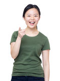 Μέτωπο σημείου δάχτυλων γυναικών στοκ φωτογραφία