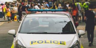 Μέτωπο του σταθμευμένου περιπολικού της Αστυνομίας στοκ εικόνες