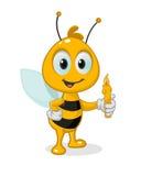 Μέλισσα κινούμενων σχεδίων με το κερί Στοκ Εικόνα