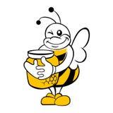 Μέλισσα με το δοχείο μελιού Στοκ εικόνες με δικαίωμα ελεύθερης χρήσης