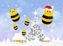 Μέλισσα στα Χριστούγεννα ελεύθερη απεικόνιση δικαιώματος