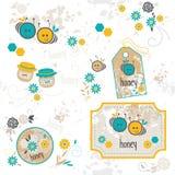 Μέλισσα, σύνολο απεικονίσεων Στοκ εικόνες με δικαίωμα ελεύθερης χρήσης