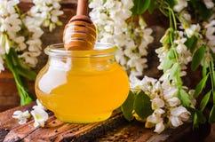 Μέλι ακακιών gar στο ξύλινο υπόβαθρο 9 πολύχρωμες εικόνες διάθεσης που τίθενται τις τουλίπες άνοιξη θαυμάσιες Εκλεκτική εστίαση ε Στοκ Εικόνα