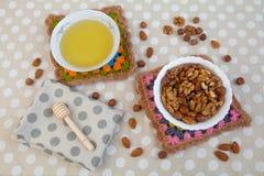 Μέλι και καρύδια Στοκ εικόνες με δικαίωμα ελεύθερης χρήσης