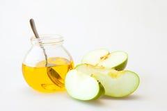Μέλι και μήλο hashana Rosh Στοκ Εικόνες