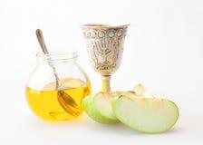 Μέλι και μήλο hashana Rosh Στοκ φωτογραφία με δικαίωμα ελεύθερης χρήσης