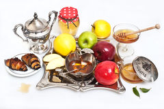 Μέλι με το μήλο για Rosh Hashana Στοκ φωτογραφίες με δικαίωμα ελεύθερης χρήσης