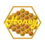 Μέλι στις χτένες μελιού ετικέτα και πτώσεις Στοκ φωτογραφία με δικαίωμα ελεύθερης χρήσης