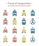 Μέλλον των εικονιδίων μεταφορών - επίπεδων, τέλεια, χρωματισμένα εικονίδια εικονοκυττάρου διανυσματική απεικόνιση