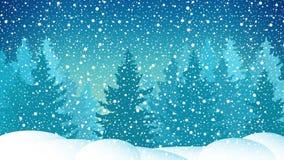 Μήκος σε πόδηα ζωτικότητας χειμερινής χιονώδες νύχτας τηλεοπτικό ελεύθερη απεικόνιση δικαιώματος