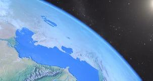 Μήκος σε πόδηα CG - γρήγορη πτήση πέρα από τη γη απεικόνιση αποθεμάτων