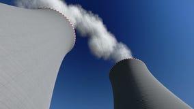 Μήκος σε πόδηα πυρηνικών σταθμών καπνοδόχων απόθεμα βίντεο