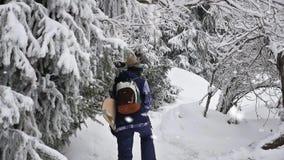 Μήκος σε πόδηα της περιπέτειας γυναικών snowboarder, που περπατά στα χιονώδη βουνά ορών απόθεμα βίντεο