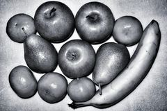 Μήλα, αχλάδια και γραπτό αφηρημένο υπόβαθρο μπανανών Στοκ εικόνες με δικαίωμα ελεύθερης χρήσης