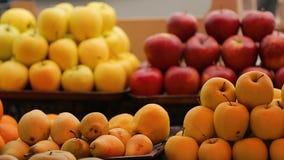 Μήλα, αχλάδια και στενός επάνω κερασιών στην τοπική της Γεωργίας αγορά, βιταμίνες, οικολογία απόθεμα βίντεο