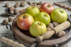 Μήλα και ξύλα καρυδιάς Στοκ εικόνα με δικαίωμα ελεύθερης χρήσης