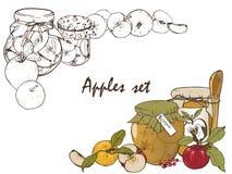 Μήλα, μαρμελάδα σε ένα βάζο, καρυκεύματα και σύνολο μούρων Στοκ εικόνα με δικαίωμα ελεύθερης χρήσης