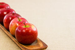 μήλα πέντε φρέσκος ευθυγ& Στοκ Εικόνες