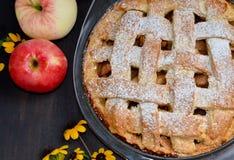 Μήλα πιτών της Apple στο μαύρο υπόβαθρο Στοκ Εικόνες