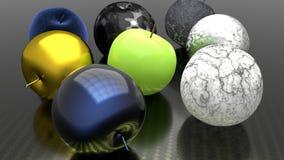 Μήλα στα διαφορετικά υλικά διανυσματική απεικόνιση