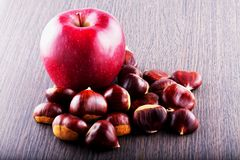 Μήλο και κάστανα Στοκ φωτογραφία με δικαίωμα ελεύθερης χρήσης