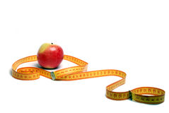 μήλο που μετρά την ταινία Στοκ φωτογραφίες με δικαίωμα ελεύθερης χρήσης