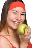 μήλο που τρώει την κυρία στοκ εικόνες