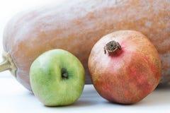Μήλο ροδιών κολοκύθας στο άσπρο υπόβαθρο Στοκ Εικόνες