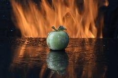 Μήλο στη μαύρη ανασκόπηση Στοκ Φωτογραφίες