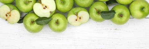 Μήλων μήλων φρούτων φρούτων τοπ άποψη copyspace εμβλημάτων πράσινη Στοκ Εικόνα