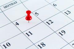 Μήνας εβδομάδας ημέρας αρμόδιων για το σχεδιασμό ημερολογιακής ημερομηνίας Στοκ Εικόνες