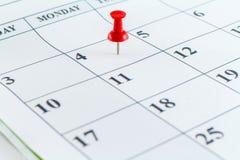 Μήνας εβδομάδας ημέρας αρμόδιων για το σχεδιασμό ημερολογιακής ημερομηνίας Στοκ Εικόνα