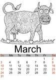 Μήνας 2019 ημερολογιακού Μαρτίου Αντιαγχωτική αγελάδα χρωματισμού, ταύρος 7 ζωικές σειρές αγροτικής απεικόνισης κινούμενων σχεδίω διανυσματική απεικόνιση