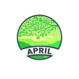 Μήνας λογότυπων τοπίων Απριλίου Στοκ Εικόνες