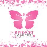 Μήνας συνειδητοποίησης καρκίνου του μαστού με το ρόδινο σημάδι πεταλούδων γυναικών και το αφηρημένο σχέδιο υποβάθρου πλαισίων πετ ελεύθερη απεικόνιση δικαιώματος