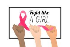 Μήνας συνειδητοποίησης καρκίνου του μαστού ρόδινη κορδέλλα διάνυσμα στοκ εικόνα με δικαίωμα ελεύθερης χρήσης