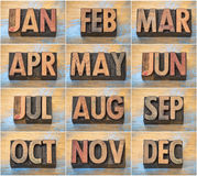 12 μήνες στον εκλεκτής ποιότητας letterpress ξύλινο τύπο Στοκ Εικόνες