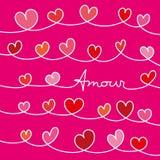 Μήνυμα αγάπης με τις καρδιές που περιπλέκονται στο ρόδινο υπόβαθρο διανυσματική απεικόνιση
