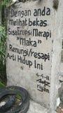 Μήνυμα από το υποστήριγμα Merapi Στοκ φωτογραφία με δικαίωμα ελεύθερης χρήσης