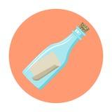 Μήνυμα σε ένα εικονίδιο μπουκαλιών απεικόνιση αποθεμάτων