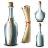 Μήνυμα στο σύνολο μπουκαλιών ελεύθερη απεικόνιση δικαιώματος