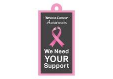 Μήνυμα συνειδητοποίησης καρκίνου του μαστού στην αφίσα Στοκ Εικόνες
