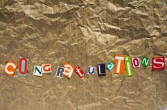 Μήνυμα των συγχαρητηρίων Στοκ φωτογραφία με δικαίωμα ελεύθερης χρήσης
