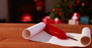 Μήνυμα Χαρούμενα Χριστούγεννας που εμφανίζεται στο χιονώδες τοπίο απόθεμα βίντεο
