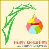 Μήνυμα Χριστουγέννων με τη διακόσμηση Στοκ εικόνες με δικαίωμα ελεύθερης χρήσης