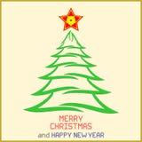 Μήνυμα Χριστουγέννων με το δέντρο Στοκ φωτογραφία με δικαίωμα ελεύθερης χρήσης